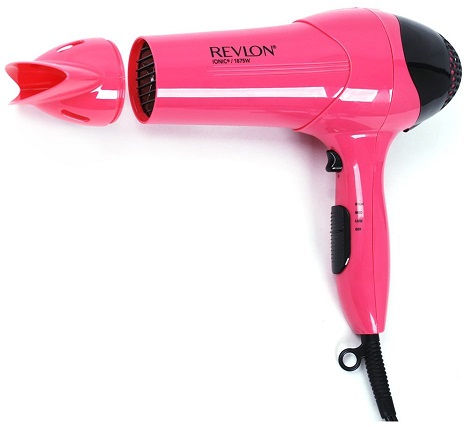 Revlon RV474 1875W Frizz Control Hair Dryer, Pearlized Pink with Black Spray